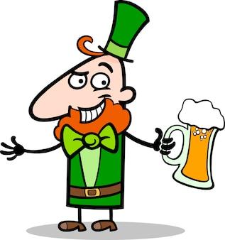 Leprechaun con illustrazione di cartone animato di birra