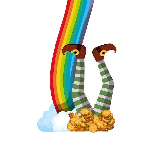 Leprechaun con monete e icone arcobaleno