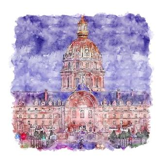 Illustrazione disegnata a mano di schizzo dell'acquerello di les invalides parigi francia