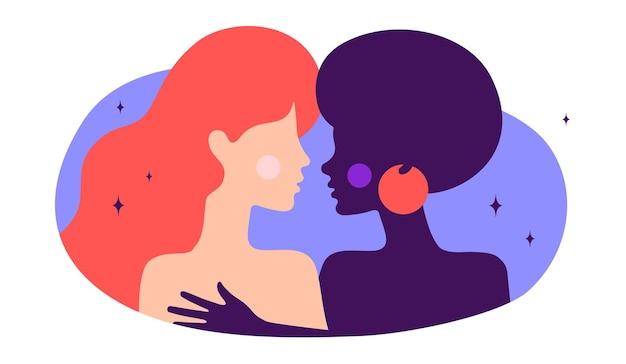 Coppia lesbica. carattere piatto moderno. due donne si abbracciano, amore romantico
