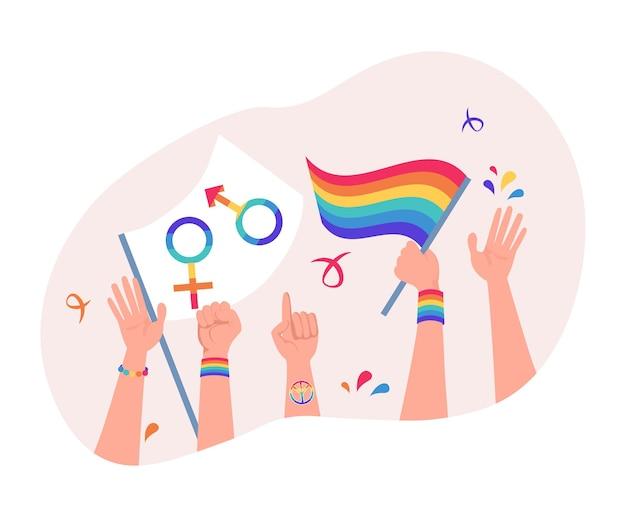 Sfilata di orgoglio di lesbiche gay bisessuali transgender e persone queer