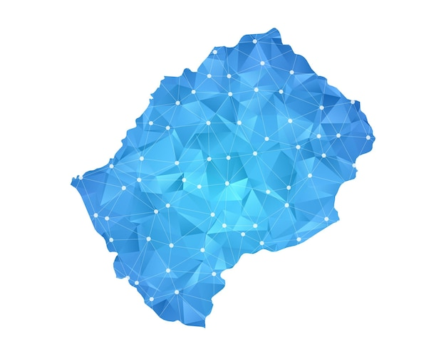 Lesotho mappa linea punti geometrici astratti poligonali.