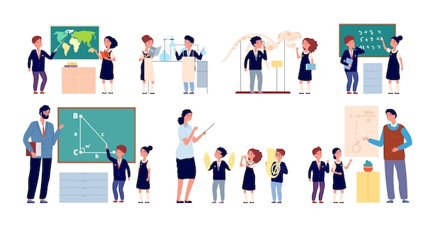 Lezione con insegnante. aula dei bambini, insegnamento scolastico felice. lavagna di gruppo di bambini svegli, illustrazione di vettore di alunni di musica isolata. aula di geometria e fisica della musica, lezione di classe dell'asilo