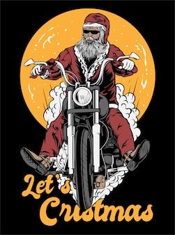 Let's natale santa rider illustrazione vector art abbigliamento design