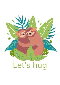 Abbracciamo. illustrazione di bradipi carino