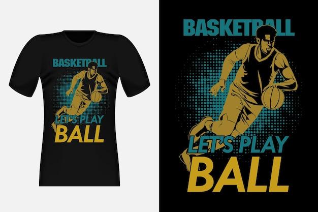 Giochiamo a basket silhouette vintage t-shirt design illustration