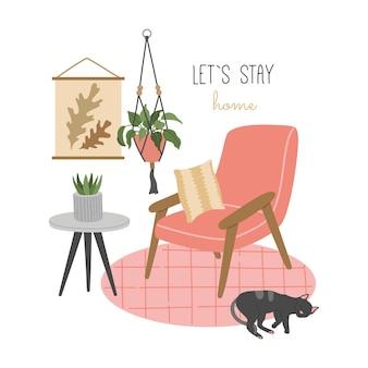 Restiamo a casa. camera accogliente disegnata a mano in stile scandinavo, piante domestiche, foto sul muro, poltrona con cuscino, gatto che dorme sul tappeto.