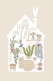 Restiamo a casa. carta ispiratrice con elementi interni, piante domestiche e simpatico gatto in stile scandinavo disegnato a mano. illustrazione accogliente nella sagoma dell'edificio