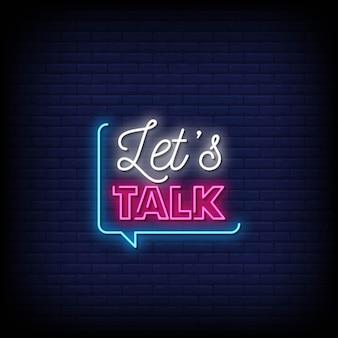 Parliamo di testo in stile insegne al neon