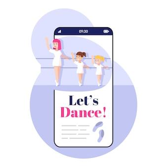 Consente di ballare la schermata dell'app per smartphone. display del telefono cellulare con mockup di design di personaggi dei cartoni animati. balletto classico applicazione coreografica per interfaccia telefonica per bambini