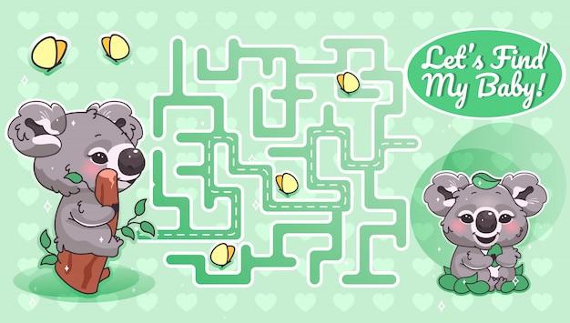Troviamo il mio labirinto verde bambino con il modello del personaggio dei cartoni animati. labirinto di percorso di ricerca animale australiano con soluzione per gioco educativo per bambini. koala alla ricerca di layout stampabile per bambini