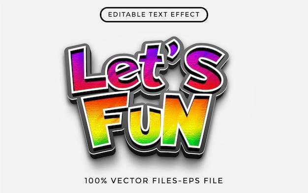 Consente ai vettori premium di divertenti effetti di testo modificabili dei cartoni animati