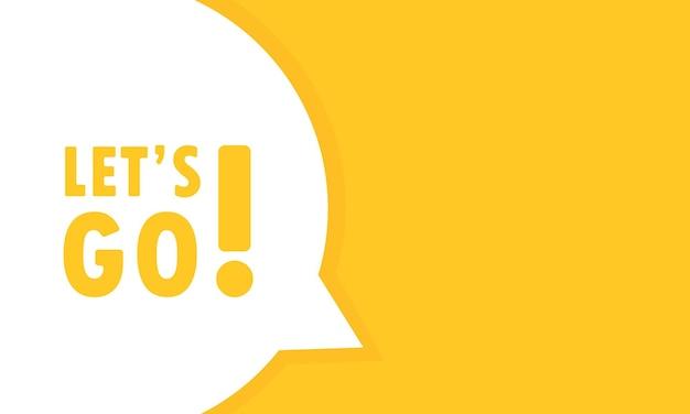 Andiamo banner fumetto. può essere utilizzato per affari, marketing e pubblicità. vettore env 10. isolato su priorità bassa bianca.