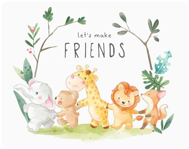 Facciamo lo slogan degli amici con simpatici animali dei cartoni animati che tengono l'illustrazione della mano