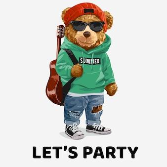 Lascia lo slogan della festa con un simpatico orsetto in occhiali da sole che trasporta l'illustrazione della chitarra