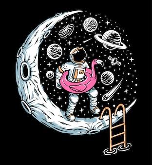 Giochiamo nell'illustrazione della piscina lunare