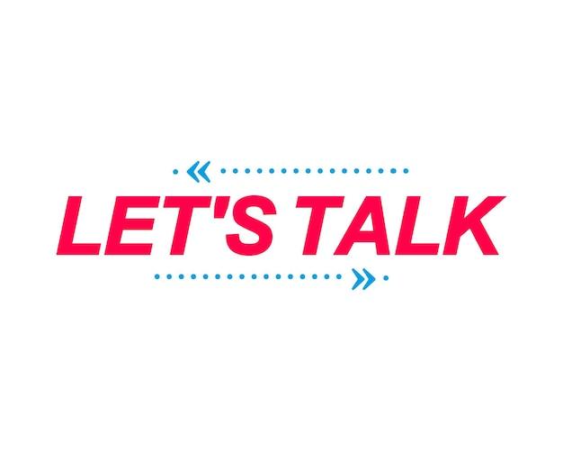 Parliamo di etichette. bolle di discorso con adesivo di marketing. banner per social media, sito web, faq.