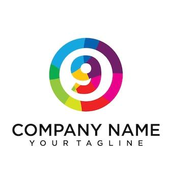 Modello di progettazione del logo della lettera 9. segno creativo foderato colorato