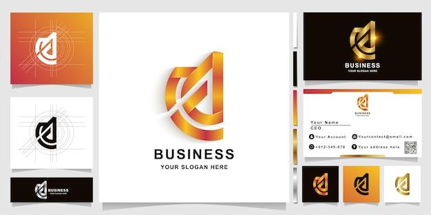 Modello di logo monogramma lettera ac o ca con design biglietto da visita