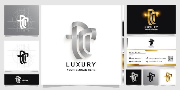 Modello di logo monogramma lettera ac o fci con design biglietto da visita