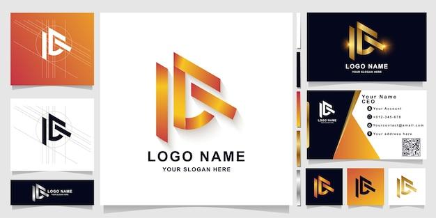Modello di logo monogramma lettera ac o ie con design biglietto da visita