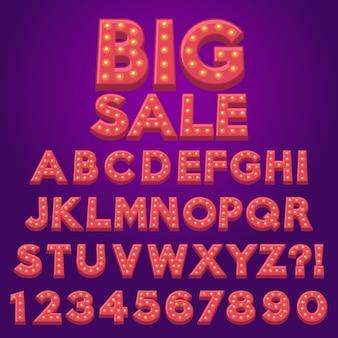 Lettera alfabeto divertente tendone lampadina lampada del fumetto