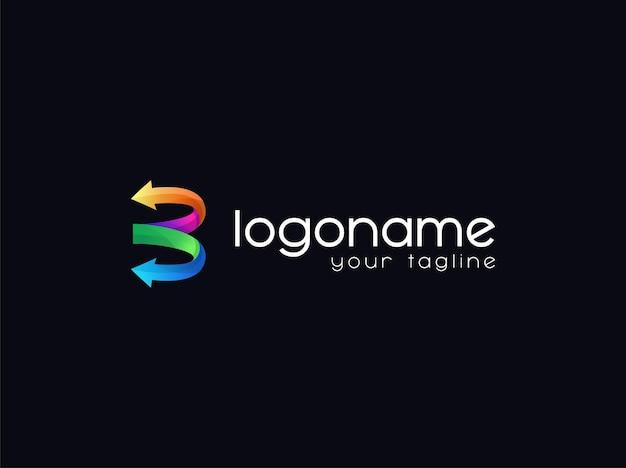 Lettera b freccia gradiente logo design premium vector