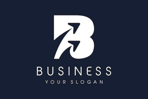 Modello di progettazione dell'icona del logo della freccia della lettera b.