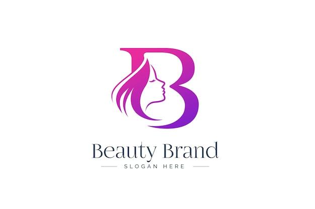 Design del logo di bellezza della lettera b. siluetta del fronte della donna isolata sulla lettera b.