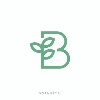 Lettera b per il design del logo botanico o bio