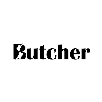 Logo di tipografia macellaio lettera b con simbolo coltello sagoma