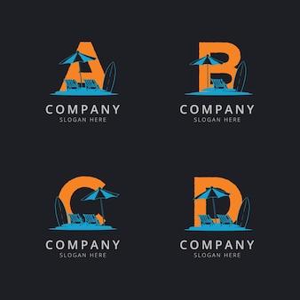 Lettera abc e d con modello di logo astratto spiaggia