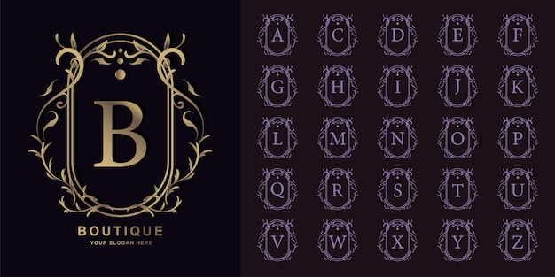 Lettera b o alfabeto iniziale di raccolta con modello di logo dorato cornice floreale ornamento di lusso.