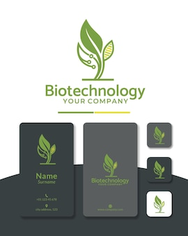 Design del logo digitale del dna della foglia della lettera b per la biotecnologia