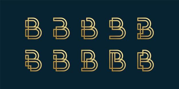Collezione di logo lettera b con stile arte linea sfumata dorata, iniziale, lettera