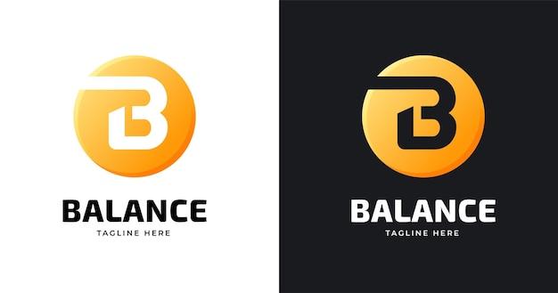 Modello di progettazione del logo della lettera b con stile a forma di cerchio