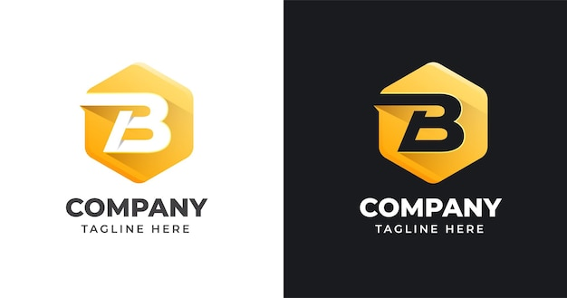 Modello di progettazione di logo di lettera b con stile di forma geometrica