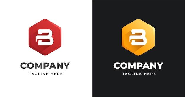 Modello di progettazione del logo della lettera b con stile di forma geometrica