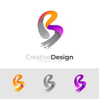 Logo della lettera b e design swoosh illustrazione, icone colorate