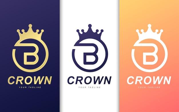 Modello di logo della lettera b in corona. semplice concetto di logo re