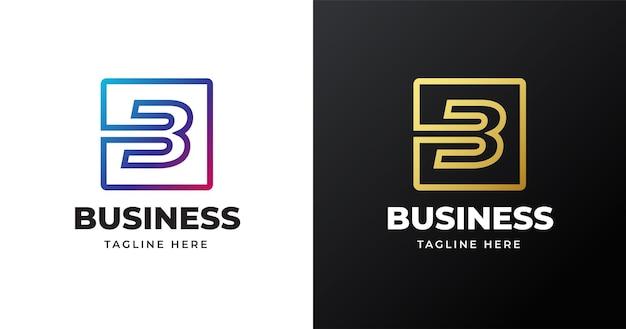 Illustrazione di vettore del logo della lettera b con design di linee quadrate