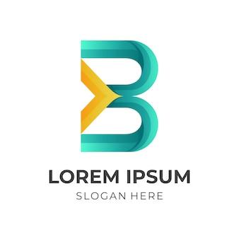 Marchio della lettera b con combinazione di design a freccia, modello icona colorata
