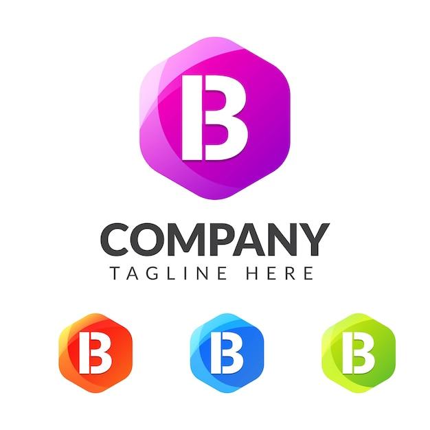 Marchio della lettera b con design a geometria colorata