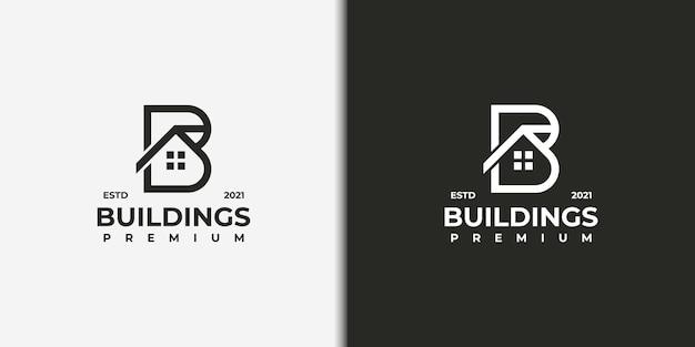 Logo della lettera b con logo combinato costruzione, costruttore, edificio, ispirazione per il logo