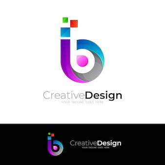 Logo della lettera b con tecnologia di design pixel, loghi colorati di linea