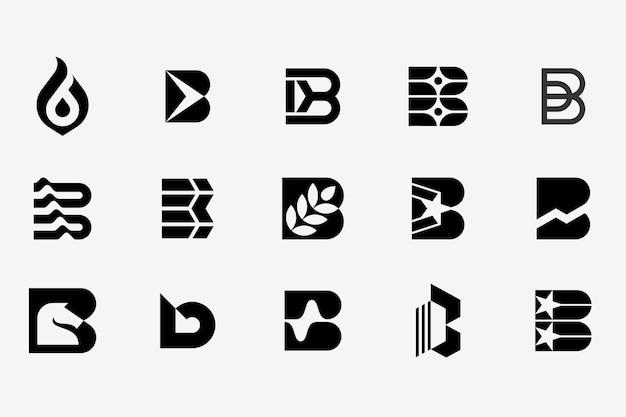 Collezione di set di logotipo lettera b