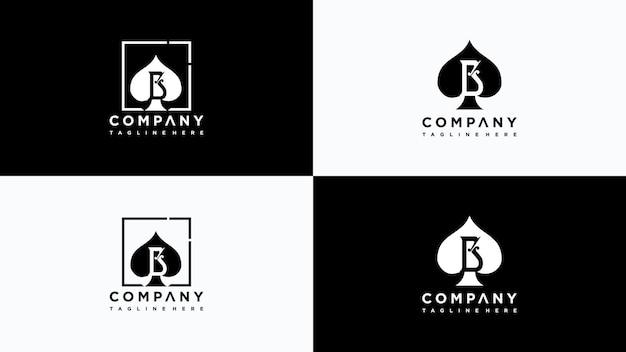 Vettore di progettazione del logo del poker della lettera b vettore premium