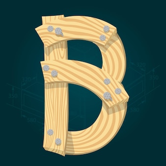Lettera b - carattere vettoriale stilizzato realizzato con assi di legno martellate con chiodi di ferro.