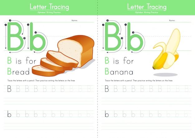 Alfabeto alimentare di tracciamento della lettera b.