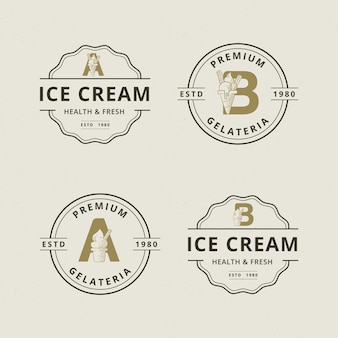 Lettera a e b con modello di logo astratto gelato